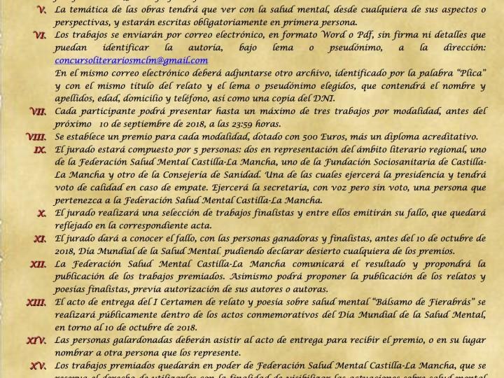 I Certamen de Relato y Poesía sobre Salud Mental «Bálsamo de Fierabrás»